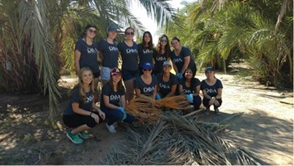 Omega Phi Alpha (National Service Sorority) at the ASU Date Palm grove on the Polytechnic campus